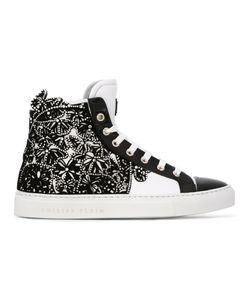 Philipp Plein | Embellished Hi-Top Sneakers 35.5 Calf Leather/Leather/Suede/Rubber