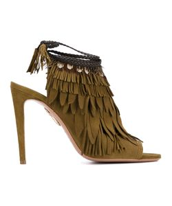 Aquazzura | Fringed Peep Toe Mules Womens Size 36.5 Leather/Feather