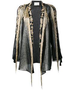 Alberta Ferretti | Bead Embellished Open Jacket 44 Silk/Cotton/Polyester/Pvc