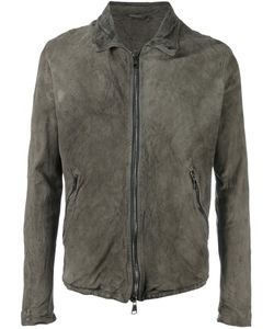 Giorgio Brato | Leather Zipped Jacket 56 Silk/Cotton/Leather/Spandex/Elastane