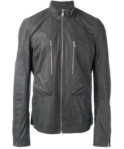 Rick Owens | Zipper Collar Jacket 52 Cotton/Lamb Skin/Polyamide/Viscose