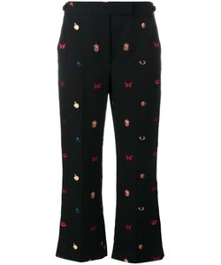 Alexander McQueen | Embroidered Cropped Trousers 40 Polyester/Viscose