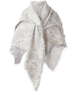 CUTULI CULT | Tweed Fringed Triangle Scarf Cotton/Sheep Skin/Shearling/Viscose/Wool