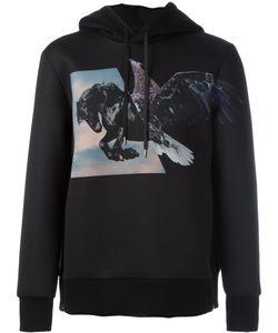 Neil Barrett | Winged Horse Print Hoodie Mens Size Xl Polyester/Polyurethane/Viscose