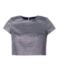 INGIE PARIS | Woven Effect Crop T-Shirt 44 Acrylic/Polyamide/Polyester/Metallized