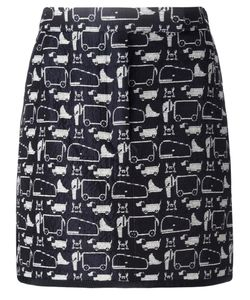 Thom Browne | Animal Print Short Skirt 40 Silk/Cotton/Polyester/Silk