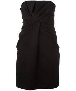 Saint Laurent | Strapless Pleated Front Dress 38 Silk/Wool