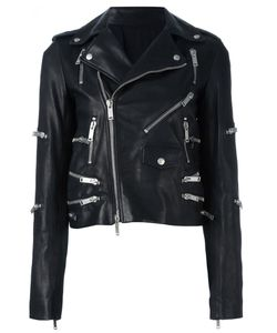 UNRAVEL | Zip Detail Biker Jacket 40 Calf Leather/Viscose/Cotton