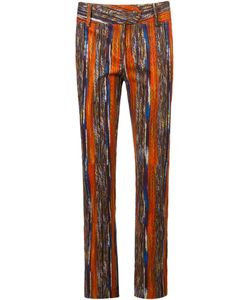 Mixed | Printed Trousers 38 Cotton/Leather/Spandex/Elastane