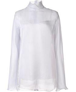 Nina Ricci | High Collar Organza Blouse 38 Silk
