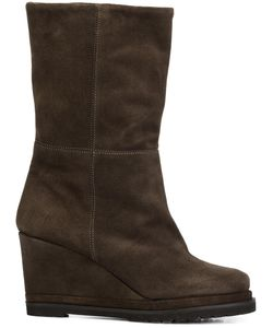 CHUCKIES NEW YORK | Wedge Mid-Calf Boots 36 Suede/Leather/Rubber