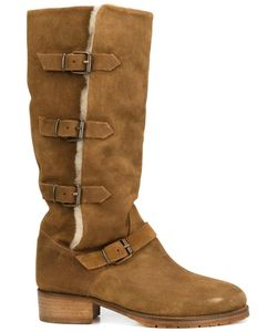 CHUCKIES NEW YORK | Buckle Strap Boots 41 Suede/Sheep