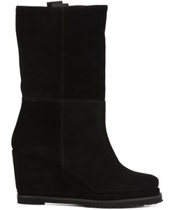 CHUCKIES NEW YORK | Wedge Mid-Calf Boots 39 Suede/Leather/Rubber