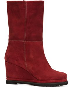 CHUCKIES NEW YORK | Wedge Mid-Calf Boots 38 Suede/Leather/Rubber