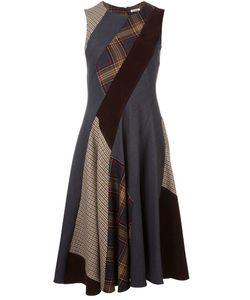P.A.R.O.S.H.   Flared Patchwork Dress Small Virgin Wool/Spandex/Elastane/Cotton