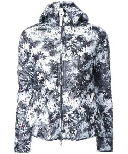KRU | Palm Print Hooded Puffer Jacket Large Polyester