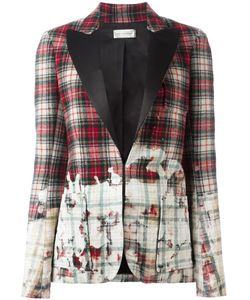 Faith Connexion | Distressed Tartan Print Blazer 38 Wool/Polyester/Viscose