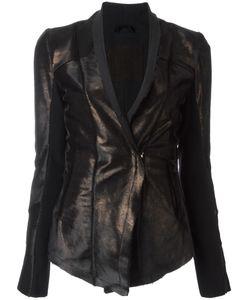 10Sei0Otto | Bronze-Tone Fitted Jacket 44 Calf Hair/Cork/Spandex/Elastane