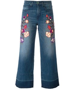 Sandrine Rose | Embroidered Cropped Jeans 28 Cotton