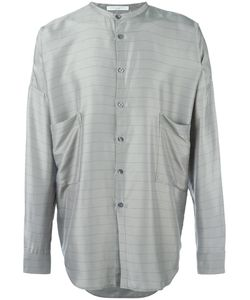 Lucio Vanotti | Striped Grandad Collar Shirt 5 Viscose/Silk