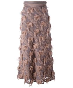 Si Jay | Diagonal Fringed Panel Skirt 42 Acrylic/Polyamide/Wool/Viscose