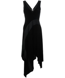DKNY | Ribbed Insert Asymmetric Dress Xs Viscose/Silk/Merino