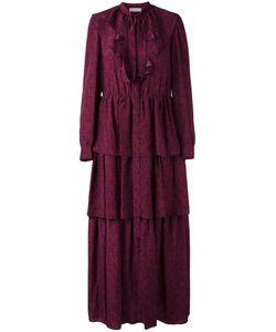 Sonia Rykiel | Faces Print Ruffled Dress 38 Silk