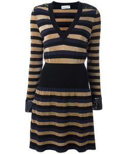 Sonia Rykiel | Striped V-Neck Dress Medium Viscose/Polyester