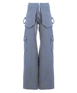 Richard Malone | Striped Wide-Leg Trousers Small Acrylic