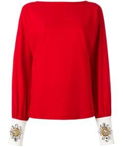 STEFANO DE LELLIS | Embellished Cuff Blouse 44 Polyester/Spandex/Elastane/Glass
