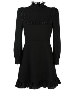 Saint Laurent | Ruffle Trim Shift Dress 40 Silk/Wool/Polyester/Viscose