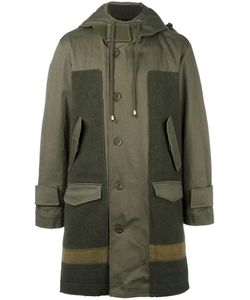 Cy Choi   Hooded Panelled Coat 48 Cotton/Polyurethane/Wool/Wool