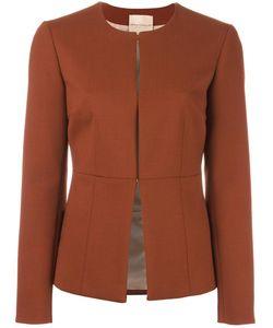 Erika Cavallini | Collarless Fitted Jacket 42 Polyester/Spandex/Elastane/Acetate