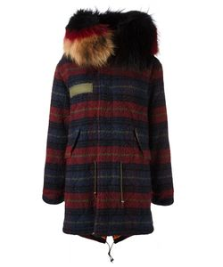 MR & MRS Italy | Checked Parka Small Virgin Wool/Cotton/Polyester/Racoon