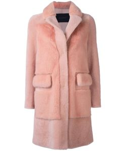 Blancha | Buttoned Mid-Length Coat 40 Mink Fur/Leather