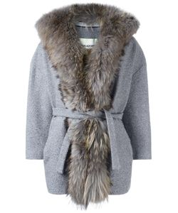 AVA ADORE | Trimmed Belted Coat 42 Wool/Spandex/Elastane/Racoon Fur