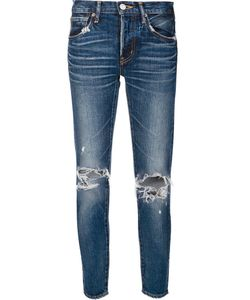 Moussy | Ripped Knees Cropped Jeans 27 Cotton