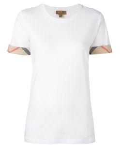 Burberry   Plaid Trim Sleeve T-Shirt Large Cotton/Spandex/Elastane