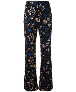 SELF-PORTRAIT | Embroidered Flared Trousers 10 Polyester/Cotton/Spandex/Elastane