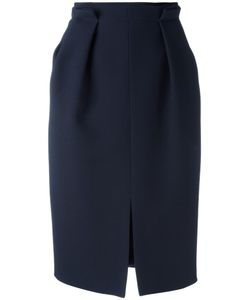 Alexander McQueen | Gathered Pencil Skirt 42 Wool/Silk/Cotton