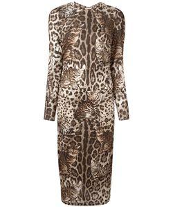 Dolce & Gabbana   Cat Print Dress 42 Silk/Spandex/Elastane