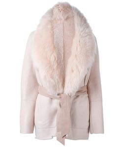 Drome | Lamb Fur-Collar Belted Coat Small Leather/Lamb Fur