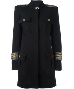 Pierre Balmain | Chain Embellished Military Coat 42 Lyocell/Cotton/Spandex/Elastane/Viscose