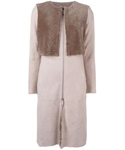 Armani Collezioni | Collarless Zip-Up Coat 40 Sheep Skin/Shearling/Polyester/Cotton