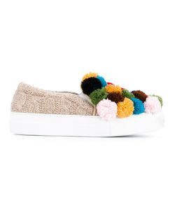 Joshua Sanders | Pompom Application Slippers 41 Leather/Nylon/Wool/Rubber