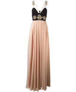STEFANO DE LELLIS | Embellished Pleated Gown 40 Polyester/Spandex/Elastane