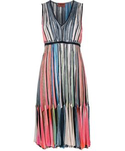 Missoni | Pleated V-Neck Dress 38 Cupro/Viscose/Polyester