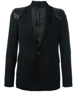 Les Hommes | Quilted Shoulder Blazer 50 Leather/Viscose/Wool
