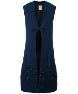 Pascal Millet | Embellished Sleeveless Coat Small Silk/Spandex/Elastane/Cashmere/Virgin