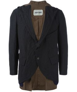 ZIGGY CHEN | Layered Hood Blazer 48 Cotton/Linen/Flax/Spandex/Elastane/Wool